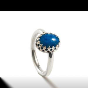 Ring met gesloten askamer in ring en ovale laspiz las denim 11.134-00