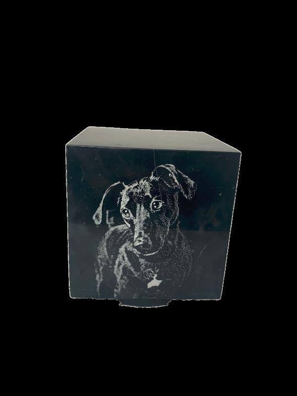 Urn marmeren kubus zwart met laser foto hond